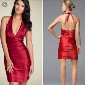 BCBGMaxAzria Satin Laser cut Dress
